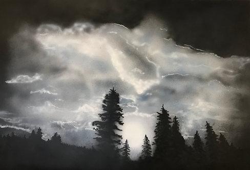 Framed Original Moonlight Over Boreas