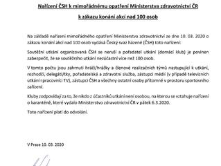 Nařízení ČSH k mimořádnému opatření Ministerstva zdravotnictví ČR k zákazu konání akcí nad 100 osob