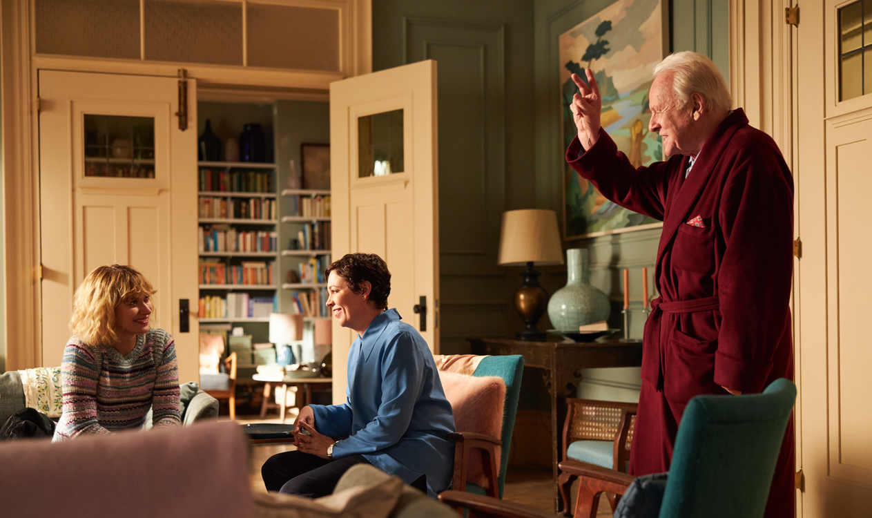 The Father . Anne's living room . The Father . Directed by Florian Zeller . Staring Anthony Hopkins, Olivia Colman, Imogen Poots, Rufus Sewell, Olivia Williams, Mark Gattis