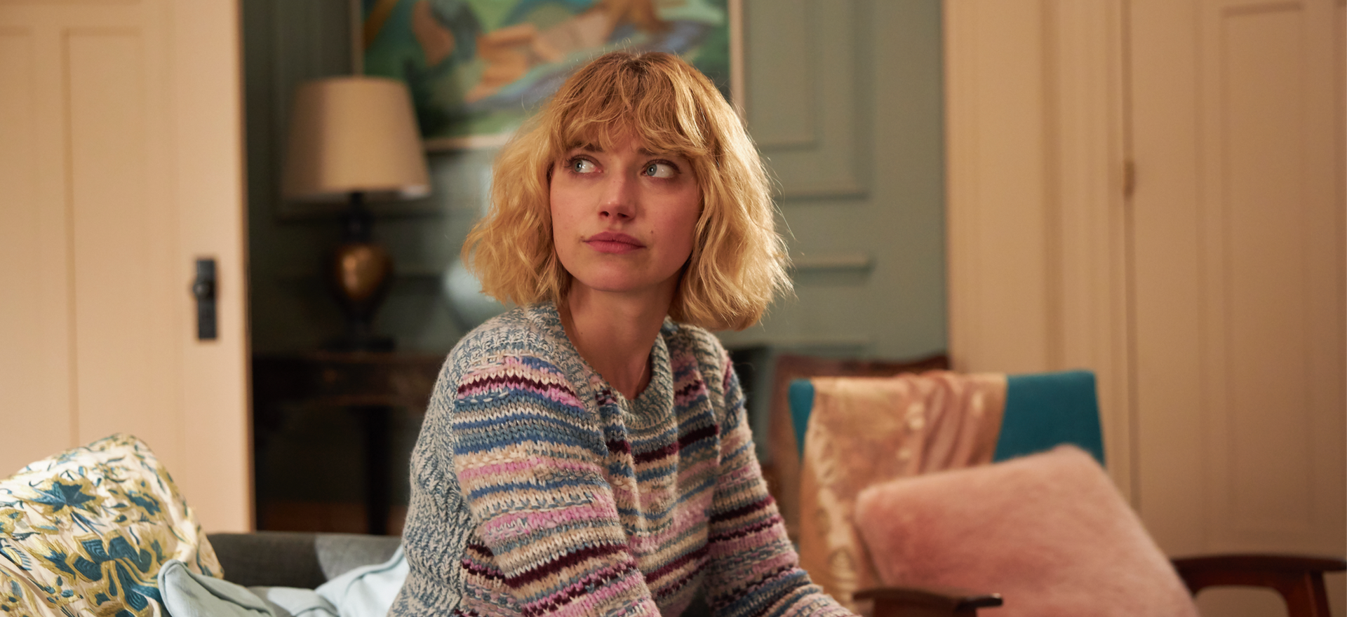 imogen poots plays laura . The Father . Directed by Florian Zeller . Staring Anthony Hopkins, Olivia Colman, Imogen Poots, Rufus Sewell, Olivia Williams, Mark Gattis