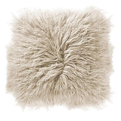 Cream Color Square Mongolian Lamb Fur Pillow