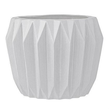 Round Stoneware Fluted Flower Pot