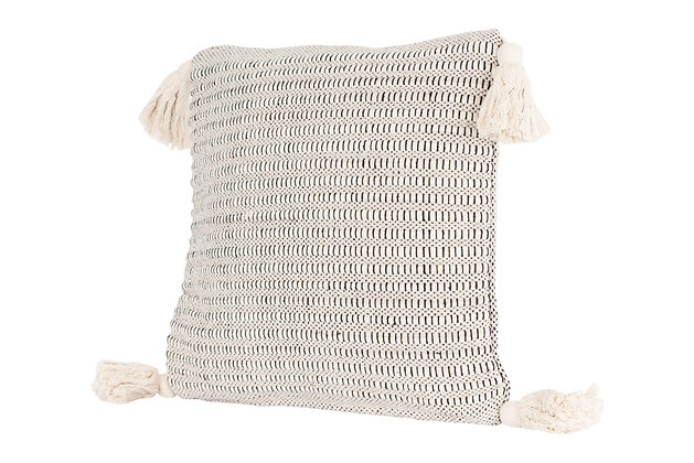 Beige Square Cotton Pillow with Corner Tassels