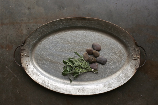 Decorative Metal Tray with Handles