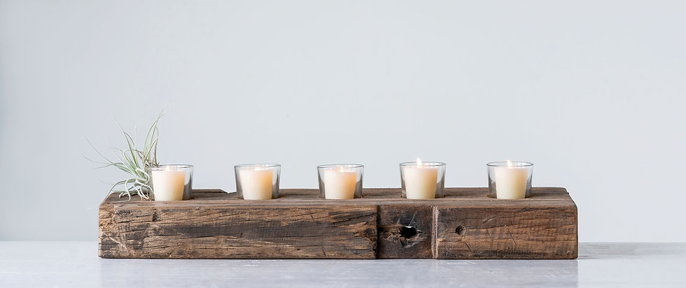 Reclaimed Wood Holder with 5 Clear Glass Votives