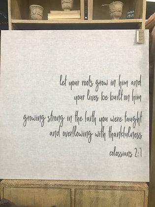 Colossians 2:7 Linen Wall Art