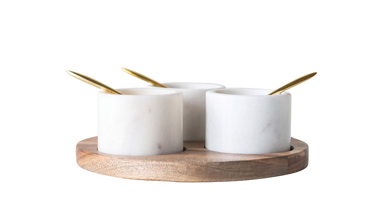 Round Acacia Wood Board with 3 Marble Pinch Pots & 3 Spoons (Set of 7 Pieces)