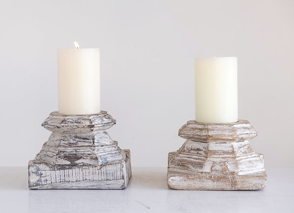 Found Distressed White Wood Column Candleholder