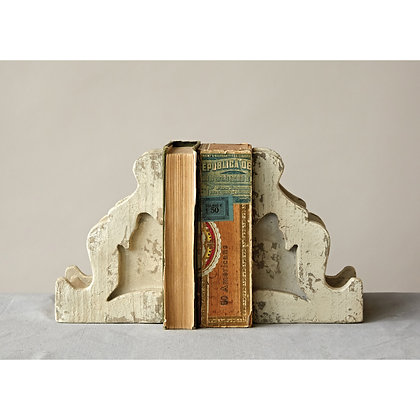 Distressed White Corbel Shaped Bookends