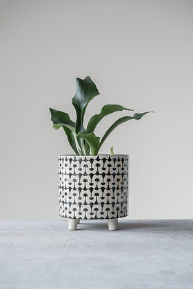 Black & White Round Stoneware Footed Planter
