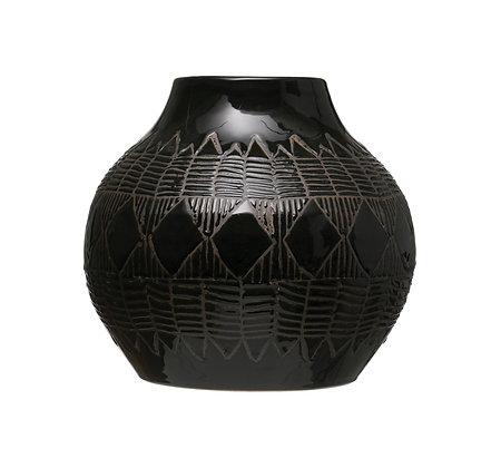Etched Stoneware Vase