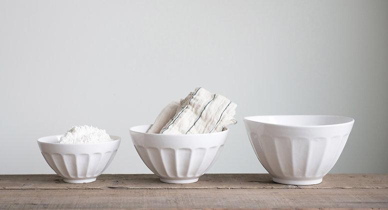 White Stoneware Bowls