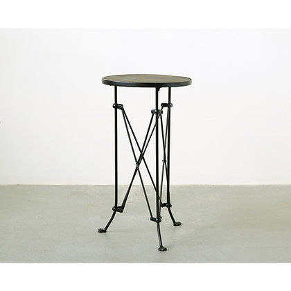Pine Wood Accent Table with Metal Frame