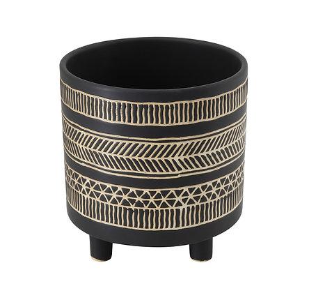 Round Stoneware Flower Pot with Black Pattern