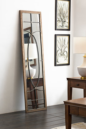 Wood Mirror with Metal Accents