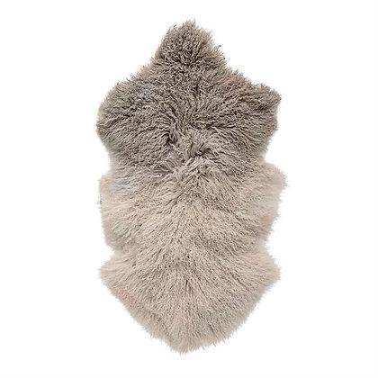 Dip Dye Stone/Off-White Tibetan Lamb Fur