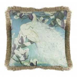 Coussin velours paons