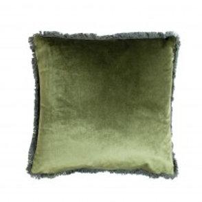 Coussin velours vert mousse