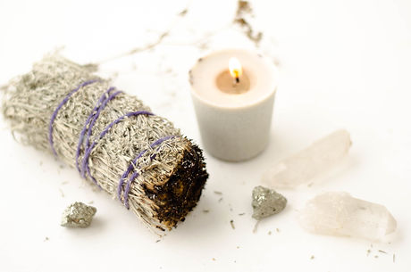Sage Smudge Stick Crystals and candle.jp