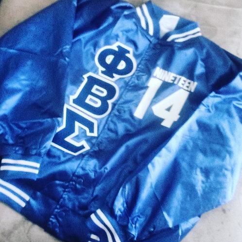 PBS Satin Royal Baseball Bomber Jacket