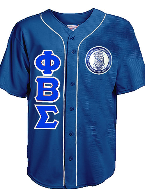 Sigma Letters Walk Off Full Button Piped Baseball Jersey