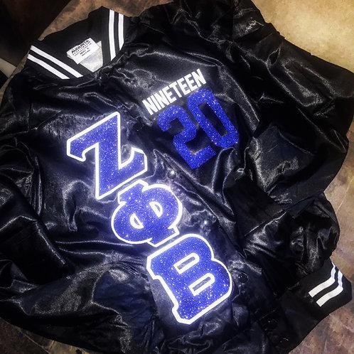 "ZPB ""Blinged Out"" Satin Black Baseball Bomber Jacket"