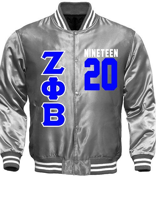 ZPB Satin Platinum Baseball Bomber Jacket