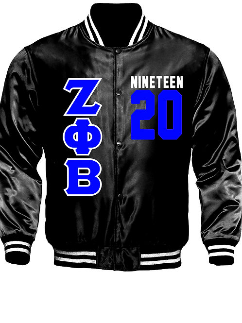 ZPB Satin Black Baseball Bomber Jacket