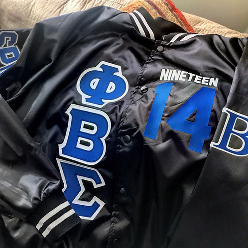 PBS Satin Black Baseball Bomber Jacket