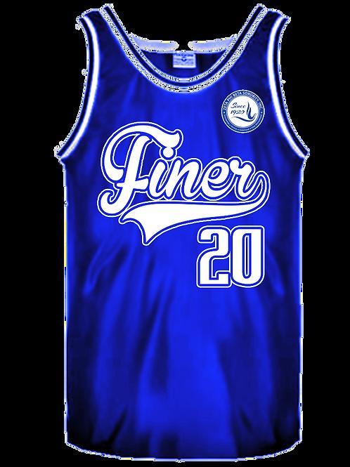 ZPB FINER Customizable Retro Basketball Jersey Royal/White