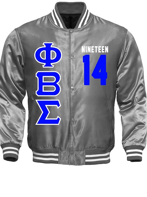 PBS Satin Platinum Baseball Bomber Jacket