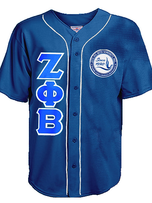 Zeta Letters Full Button Piped Baseball Jersey
