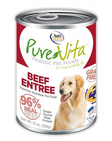 PureVita Beef Entree Can 13 oz. Grain Free Dog Food