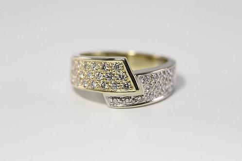 Goldring aus 585 Weiß/Gelbgold mit 38 Brillanten