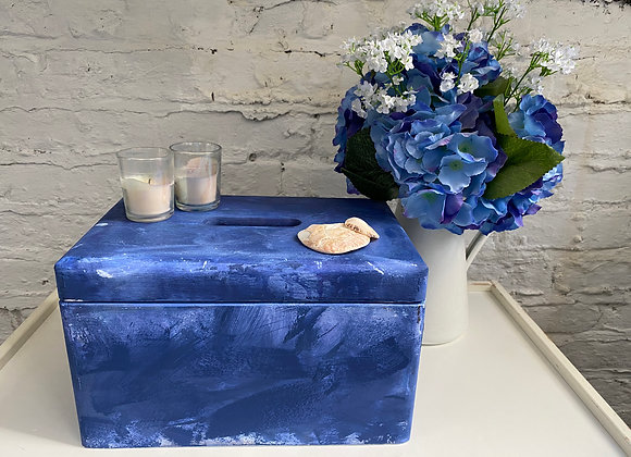 Blue and White Wood Box