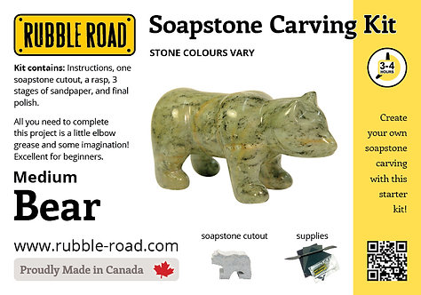Bear Medium Soapstone Carving Kit