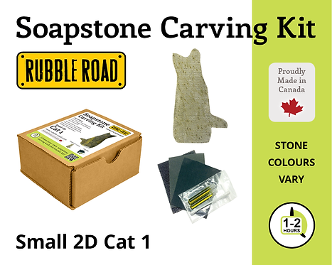 Cat Small Soapstone Carving Kit