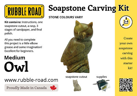 Owl Medium Soapstone Carving Kit