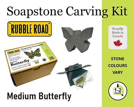 Butterfly Medium Soapstone Carving Kit