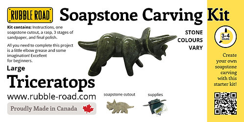 Triceratops Large Soapstone Carving Kit