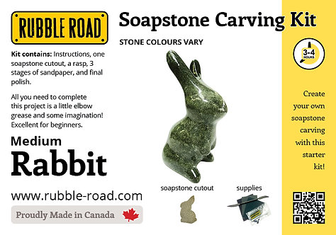 Rabbit Medium Soapstone Carving Kit