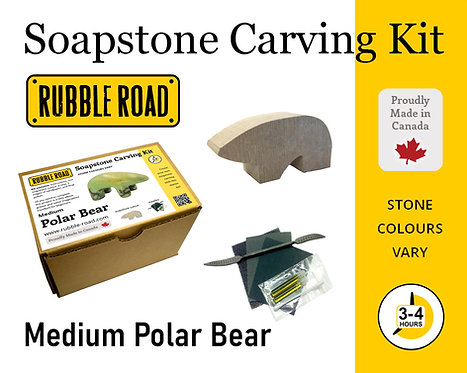 Polar Bear Medium Soapstone Carving Kit
