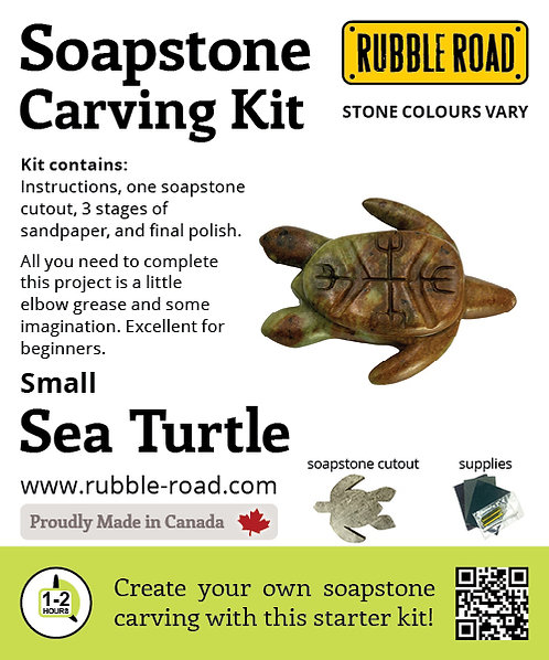 Sea Turtle Small Soapstone Carving Kit