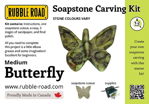 Butterfly Medium Soapstone Carving Kit