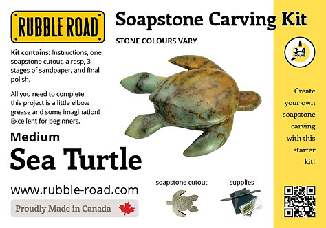 Sea Turtle Medium Soapstone Carving Kit
