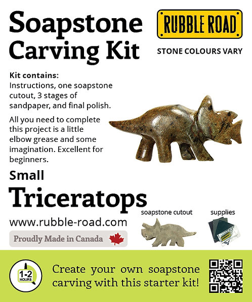 Triceratops Small Soapstone Carving Kit