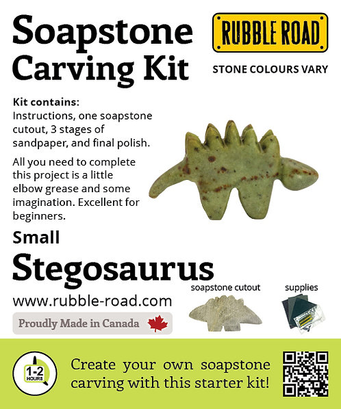 Stegosaurus Small Soapstone Carving Kit