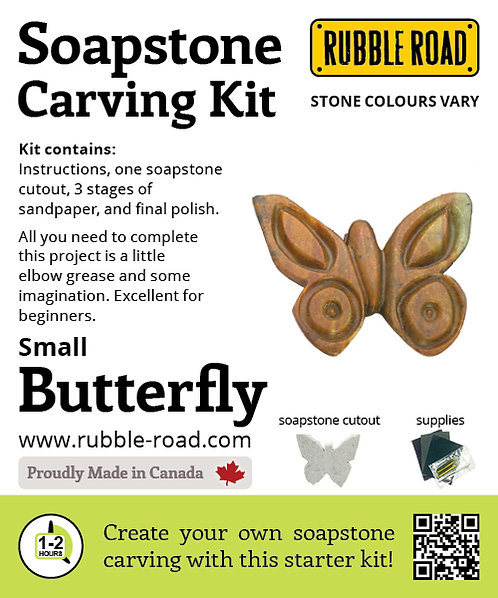 Butterfly Small Soapstone Carving Kit