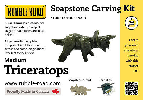 Triceratops Medium Soapstone Carving Kit