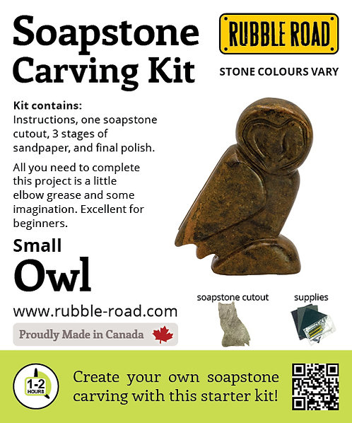 Owl Small Soapstone Carving Kit
